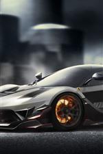 Preview iPhone wallpaper Ferrari FXXK silver supercar