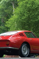 Preview iPhone wallpaper Ferrari red classic car rear view, green trees