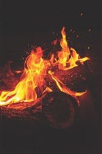 Preview iPhone wallpaper Fire, flame, firewood, sparks, darkness