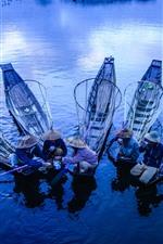 Fisherman, boats, river, morning