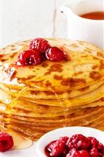 Preview iPhone wallpaper Food, pancakes, honey, raspberry