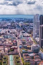 Preview iPhone wallpaper Frankfurt, Germany, city, skyscrapers, sea, clouds