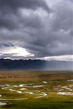 Gannan Awancang Wetland, mountains, clouds, beautiful nature landscape, China
