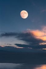 Gannan, Maqu, lake, clouds, sky, moon, China