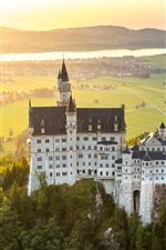 Germany, Bavaria, Neuschwanstein, city, fog, morning, sun rays