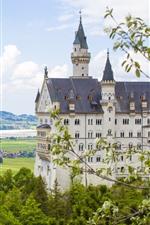 Germany, Bavaria, Neuschwanstein, trees, city, river