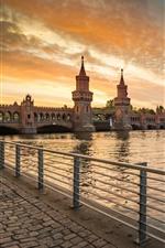 Alemanha, berlim, promenade, rio, ponte, pôr do sol