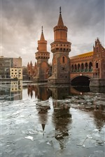 Germany, Berlin, river, bridge, city, ice, winter