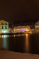 Germany, Cunewalde, winter, snow, river, trees, houses, lights, night