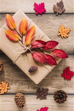 Preview iPhone wallpaper Gift, leaves, wood board