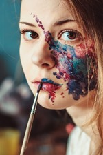 Preview iPhone wallpaper Girl, face, painting
