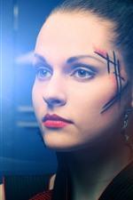 Girl, face, scar, light