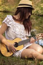 Preview iPhone wallpaper Girl, little guitar, summer