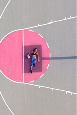 Preview iPhone wallpaper Girl, pose, playground, basketball, shadow