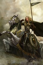 Preview iPhone wallpaper Girl, warrior, horse, art picture