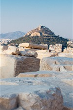 Preview iPhone wallpaper Greece, Mount Lycabettus, city, rocks