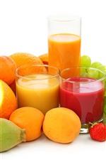 Uvas verdes, laranja, kiwi, morango, suco, fruta, fundo branco