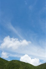 Preview iPhone wallpaper Green hill, blue sky, white clouds