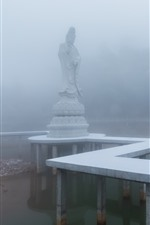 Preview iPhone wallpaper Guanyin, statue, fog