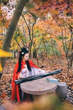 Preview iPhone wallpaper Han Dynasty girl, play guzheng, trees, autumn