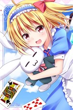 Preview iPhone wallpaper Happy anime girl and rabbit