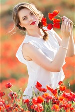 Preview iPhone wallpaper Happy girl, summer, red poppies