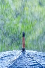 Preview iPhone wallpaper Heavy rain, umbrella