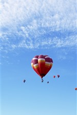 Preview iPhone wallpaper Hot air balloons, colorful, flight, blue sky, clouds