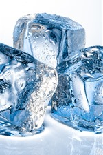 Preview iPhone wallpaper Ice cubes, water droplets, white background