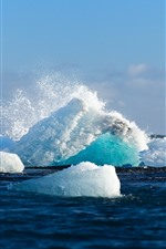 Ice, iceberg, sea, water splash