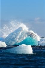 Preview iPhone wallpaper Ice, iceberg, sea, water splash