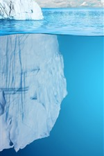 Icebergs, mar azul, subaquático