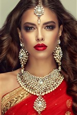 Preview iPhone wallpaper Indian girl, fashion, hairstyle, necklace, earring