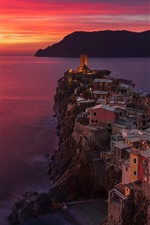 Preview iPhone wallpaper Italy, Cinque Terre, Ligurian sea, Vernazza, sea, sunset, red sky