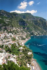 Preview iPhone wallpaper Italy, Positano, city, houses, sea, mountains