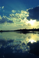 Preview iPhone wallpaper Lake, clear water, reflection, sky, clouds, sun rays