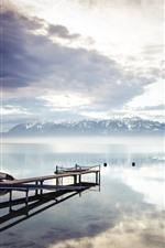 Preview iPhone wallpaper Lake, dock, mountains, clouds