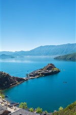 Preview iPhone wallpaper Lake, island, mountains, town