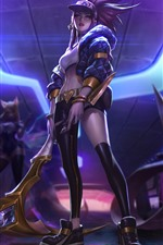 Preview iPhone wallpaper League of Legends, purple hair girl, cap