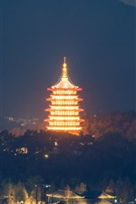 Preview iPhone wallpaper Leifeng Pagoda, Hangzhou, park, night, illumination, China