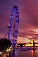 Londres, roda de Ferris, Rio, barcos, noite, luzes, Reino Unido