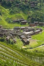 Preview iPhone wallpaper Longsheng, Guangxi, China, village, hills, rice terrace