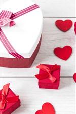 Love heart, box, gift, wood board