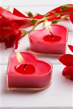 Love heart candles, fire, lily, romantic