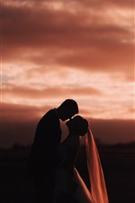 Lovers, sunset, silhouette
