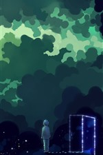 Preview iPhone wallpaper Magic space, clouds, stars, boy, door, art picture