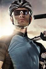 Preview iPhone wallpaper Man, glasses, bike, sport