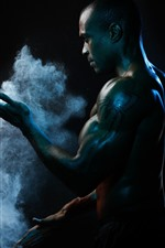 Preview iPhone wallpaper Man, muscle, smoke, black background