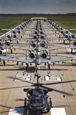 Muitos aviões A-10C Thunderbolt II, pista, aeroporto, USAF