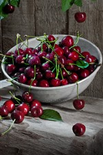 Preview iPhone wallpaper Many fresh cherries, water droplets, delicious fruit